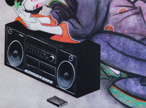 Original Art by Ron Zakrin - Beauty With Boombox