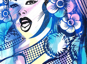 Art Print by ASVP - Cheerleader (Close Up) - Multicolor Edition