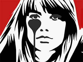 Art Print by Pure Evil - Hand-Finished Variants - Françoise Hardy - Jacques Dutronc's Nightmare - Red & Black Edition