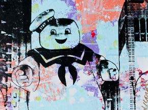 Art by Bobby Hill - Stay Puft - Blue, Purple & Peach Variant