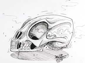 Original Art by Nychos - Skull of an Unknown Spieces - Ink Drawing