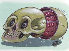 Original Art by Nychos - Dissection of a Disordered Human Skull - Original Painting