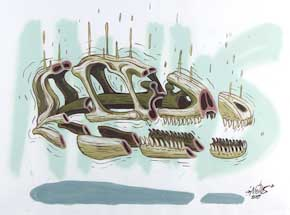 Original Art by Nychos - Cross Section of a Raptor Skull - Original Painting