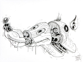 Original Art by Nychos - Cross Section of a Luny Doberman - Ink Drawing