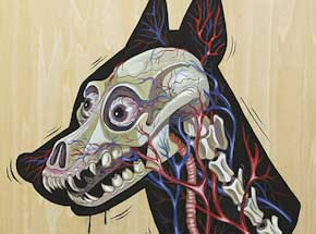 Original Art by Nychos - X-RAY of a Doberman - Original Painting