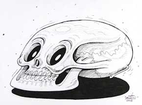 Original Art by Nychos - Luny Skull - Ink Drawing