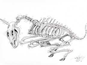 Original Art by Nychos - Skeleton of A Unicorn - Ink Drawing