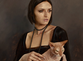 Art Print by Aaron Nagel - Lady With Sphinx - Limited Edition Prints