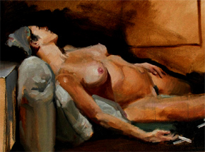 Original Art by Adam Caldwell - Woman Reclining - Original Painting