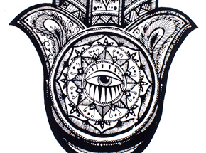 Art Print by Alice Mizrachi - Hamsa - Black Variant