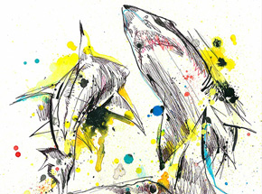 Original Art by Ben Tour - #sharks