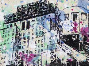 Art by Bobby Hill - New Yorker - Elevated Trains - Cabs Going