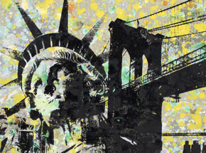 Art by Bobby Hill - Statue Of Liberty - Brooklyn Bridge - Water Towers