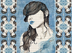Art Print by Brandon Boyd - Paige In Blue - Blotter Variant