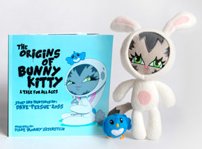 Book by Persue - The Origins of Bunny Kitty - Signed Book & Plush Combo