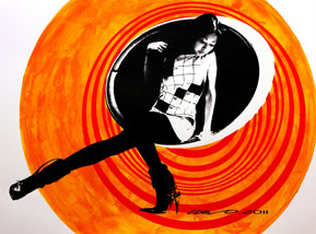 Art Print by Camilo Pardo - Circle Girl - Orange Two Tone Variant