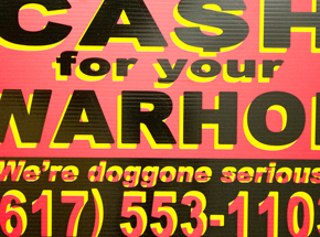Hand-painted Multiple by Cash For Your Warhol - We're Doggone Serious 18 - 12x18 Inch
