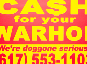 Hand-painted Multiple by Cash For Your Warhol - We're Doggone Serious 19 - 12x18 Inch
