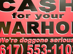 Hand-painted Multiple by Cash For Your Warhol - We're Doggone Serious 22 - 12x18 Inch