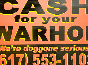 Hand-painted Multiple by Cash For Your Warhol - We're Doggone Serious 28 - 12x18 Inch