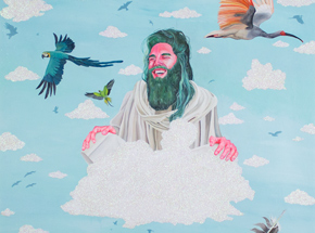 Original Art by Celeste Byers - Jesus On Cloud 9