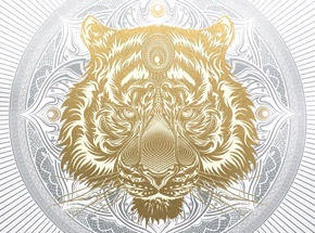 Art Print by Chris Saunders - White Tiger Mandala