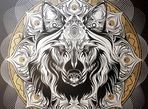 Art Print by Chris Saunders - Wolf Mandala