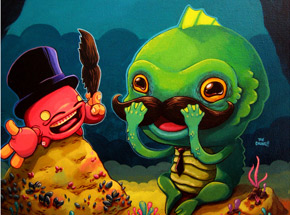 Art Print by David Chung - Finger-Crab Helps Gillman Try On Mustaches For His Big Date