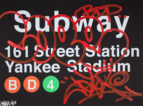 Art Print by Cope2 - Red Variant - N161 Street Station / Yankee Stadium