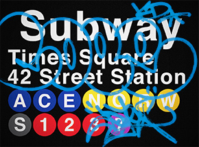 Art Print by Cope2 - Blue Variant - 42 Street Station / Times Square