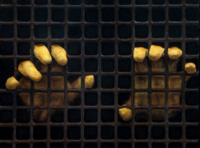 Original Art by Dan Witz - Two Yellow Gloves (Rusty Grate)