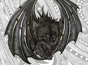 Art Print by Dennis McNett - Wolfbat - Hand-Embellished Prints