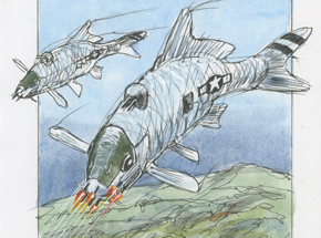 Original Art by Derek Hess - B-25 Carp - Original Artwork