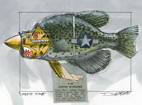 Original Art by Derek Hess - Crappie Hawk - Original Artwork