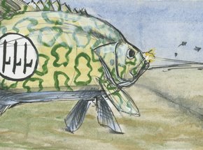 Original Art by Derek Hess - Re-2001 Falco-Mouth Bass Scores Two Victories Over Hawker Crackers - Original Artwork