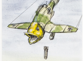 Original Art by Derek Hess - Largemouth Stuka, Close Panzer Support