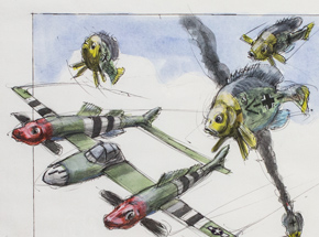 Original Art by Derek Hess - Logperch P-38 Lightening vs Bluegill BF 109's