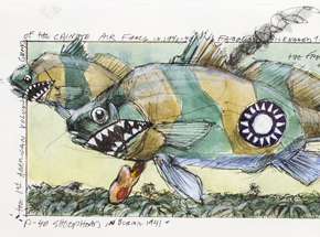 Original Art by Derek Hess - P-40 Sheephead in Burma 1942