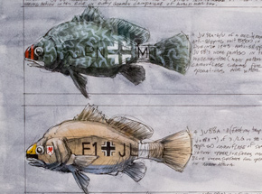 Original Art by Derek Hess - Sheephead Ju88