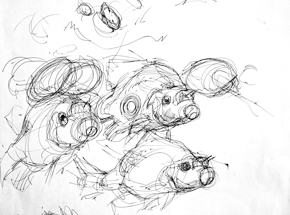 Original Art by Derek Hess - Crappie Casters - Original Sketch