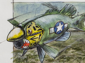 Original Art by Derek Hess - Small Mouth P-40E Warbird Aleutian Tiger Markings