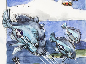 Original Art by Derek Hess - Three Sheephead B-25's Dive on Targets of Opportunity with Zero Goldfish Crackers Intercepting
