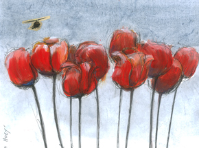 Original Art by Derek Hess - Ten Tulips