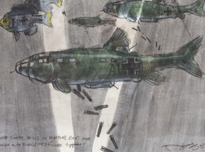 Original Art by Derek Hess - White Sucker He 111's on Bombing Raid Over London with Bluegill 109's Fighter Support