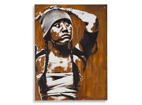 Hand-painted Multiple by Eddie Colla - Detention - Limited Edition Rust Print
