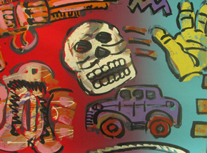 Art Print by Frank Romero - Untitled (Skull & Gun)