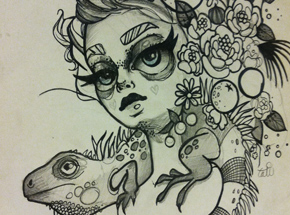 Original Art by Tatiana Suarez - Flora Original Drawing