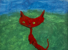 Original Art by Jerry Vile - Itty Bitty Red Kitty