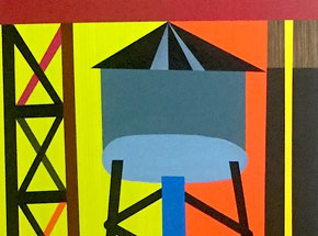 Original Art by Jesse Kassel - Crane Resting On A Water Tower
