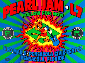 Art by Jim Evans / Taz - Rock For Choice - Pearl Jam, L7, Follow For Now - March 9th 1993 at  Pensacola Civic Center, Pensacola FL